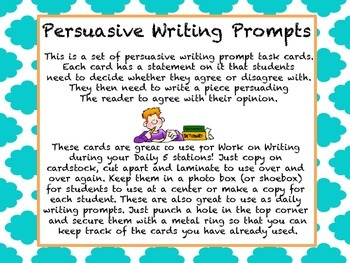 Work on Writing Persuasive Writing Prompts (Common Core aligned)
