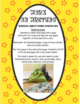 Work on Writing - Story stones instructions and sentence w