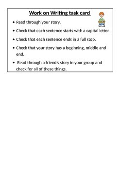 Work on writing task card for extension