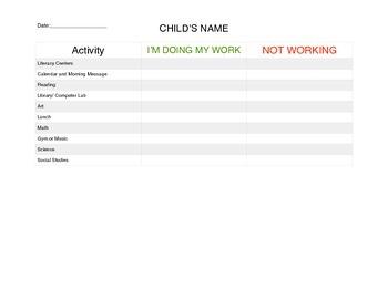 Working Daily Behavior Chart