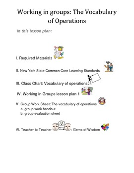 Working In Groups: Math- Vocabulary of Operations