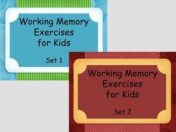 Working Memory Activies for Kids - Sets 1 & 2