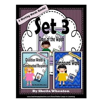 Working Words Bundle Set 3: Days of Week, Question Words &