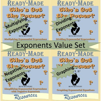 Working with Exponents Mystery Activity VALUE SET