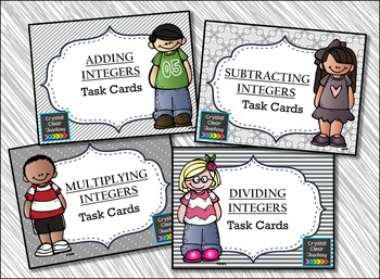 Working with Integers {Basic Operations} Task Card Bundle