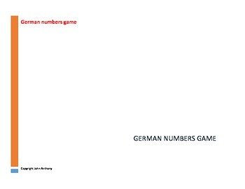 Working with numbers in German,a game and some exercises