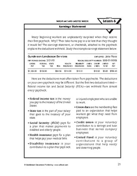 Workplace and Career Words-Earnings Statement