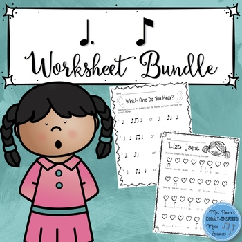 Music Worksheet Bundle: Tom Ti (Dotted Quarter Note/Eighth Note)