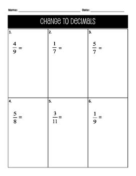 Worksheet: Change Fractions to Decimals