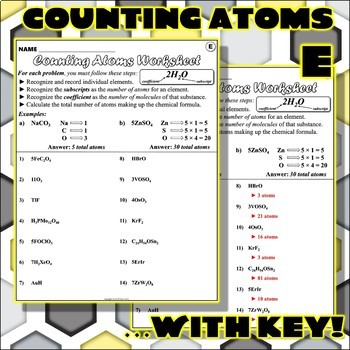 Worksheet: Counting Atoms Version E