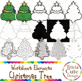 Christmas Trees Clip Art Worksheet Elements for Tracing Cu