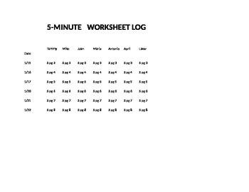 Worksheet / Homework Log for 5-8 Minute Artic Drill Programs FREE