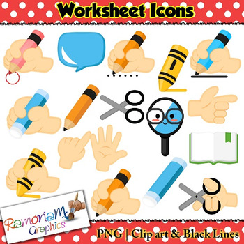 worksheet icons clip art by ramonam graphics teachers pay teachers. Black Bedroom Furniture Sets. Home Design Ideas