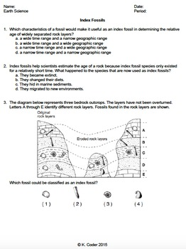 Worksheet - Index Fossils *EDITABLE*