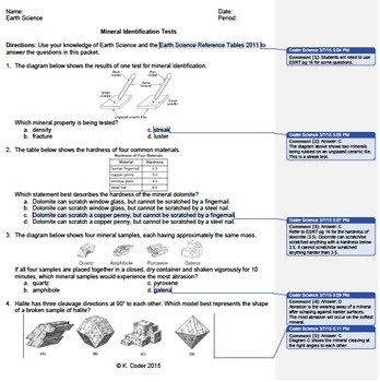 Worksheet - Mineral Identification Tests *EDITABLE* (WITH