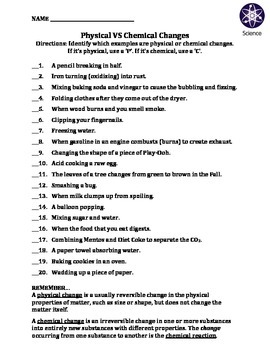 worksheet physical vs chemical changes by travis terry teachers pay teachers. Black Bedroom Furniture Sets. Home Design Ideas