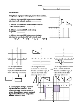 Worksheet Transformations: Rotations