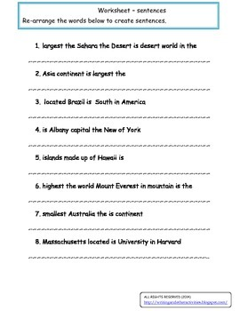 Worksheet - Sentences
