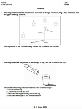 Worksheet - Shadows *Editable*