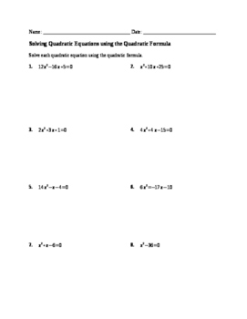 Worksheet: Solving Quadratics by Quadratic Formula