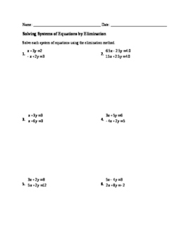 Worksheet: Solving Systems by Elimination