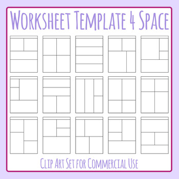 Worksheet Templates / Layouts Four Space / 4 Section Clip