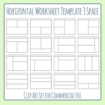 Worksheet Templates / Layouts Horizontal Three Space / 3 S