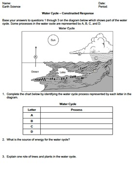 Worksheet - Water Cycle (Constructed Response) *EDITABLE*