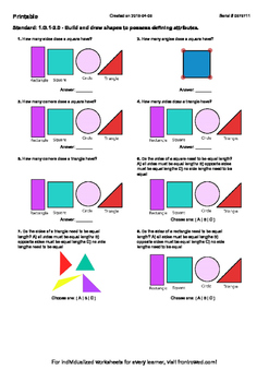 Worksheet for 1.G.1-2.0 - Build and draw shapes to possess