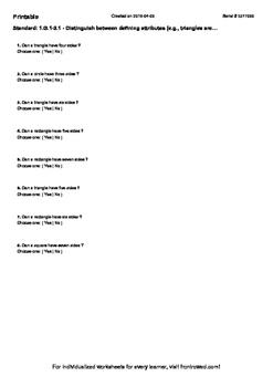 Worksheet for 1.G.1-2.1 - Distinguish between defining att