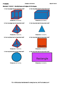 Worksheet for 1.G.2-2.1 - Identify faces and edges of 3-D shapes