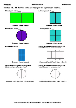 Worksheet for 1.G.3-2.0 - Partition circles and rectangles
