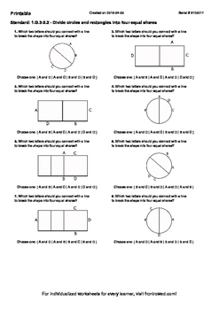Worksheet for 1.G.3-2.2 - Divide circles and rectangles in