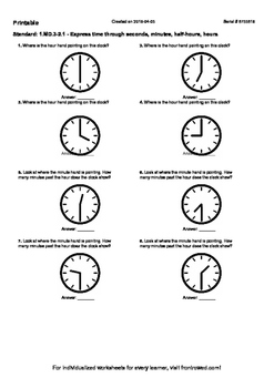 Worksheet for 1.MD.3-2.1 - Express time through seconds, m