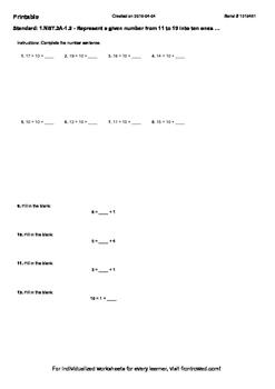 Worksheet for 1.NBT.2A-1.2 - Represent a given number from