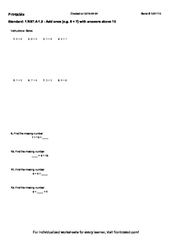 Worksheet for 1.NBT.4-1.2 - Add ones (e.g. 5 + 7) with ans
