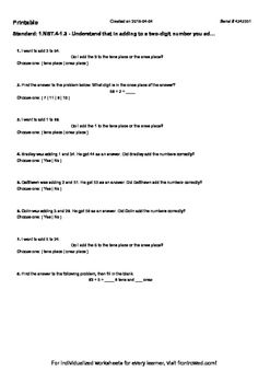 Worksheet for 1.NBT.4-1.3 - Understand that in adding to a