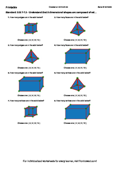 Worksheet for 2.G.1-1.3 - Understand that 3 dimensional sh