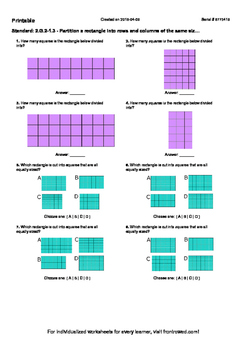 Worksheet for 2.G.2-1.3 - Partition a rectangle into rows