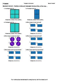 Worksheet for 2.G.3-3.1 - Partition circles and rectangles