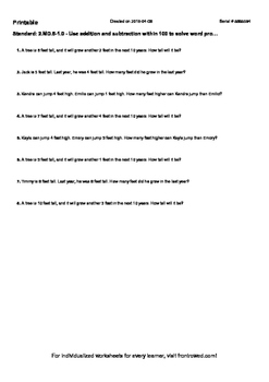 Worksheet for 2.MD.5-1.0 - Use addition and subtraction wi
