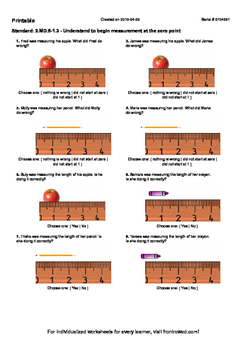 Worksheet for 2.MD.5-1.3 - Understand to begin measurement