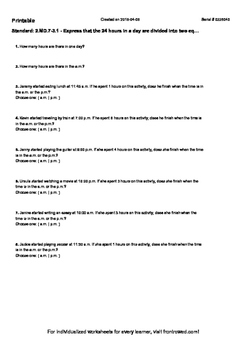 Worksheet for 2.MD.7-3.1 - Express that the 24 hours in a