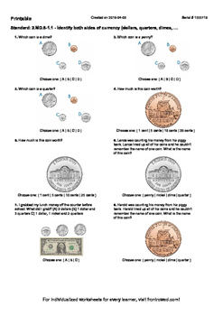 Worksheet for 2.MD.8-1.1 - Identify both sides of currency