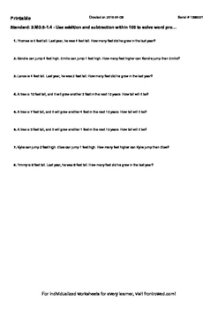 Worksheet for 2.MD.8-1.4 - Use addition and subtraction wi