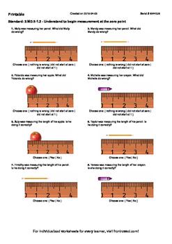 Worksheet for 2.MD.9-1.2 - Understand to begin measurement