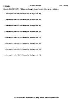 Worksheet for 2.NBT.1B-1.1 - 100 can be thought of as a bu