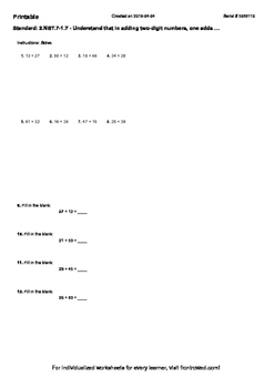 Worksheet for 2.NBT.7-1.7 - Understand that in adding two-