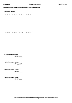 Worksheet for 2.OA.1-2.4 - Subtract within 100 algebraically