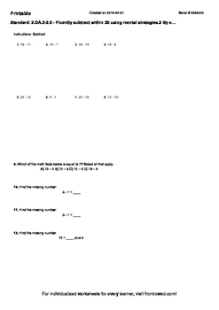 Worksheet for 2.OA.2-2.0 - Fluently subtract within 20 usi